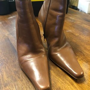 Diba Leather Booties Caramel Brown Size 9M